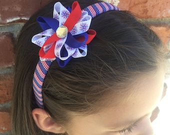 Fireworks Hair Bow Headband, Independence Day Bow, Patriotic Headband, American Flag, Handmade Hair Bow, Wrapped Headband, Gifts for Her