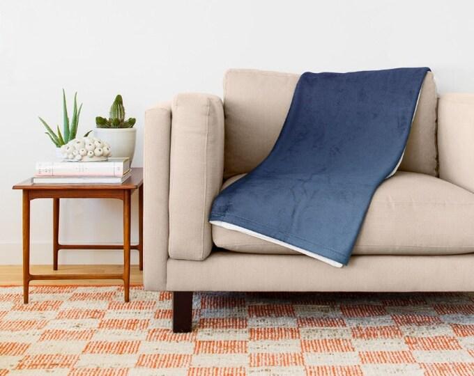 Dark Blue Super Soft Fleece Throw Blanket - Bedding - Blue Ombre Throw Blanket - Fleece Throw Blanket - Made to Order