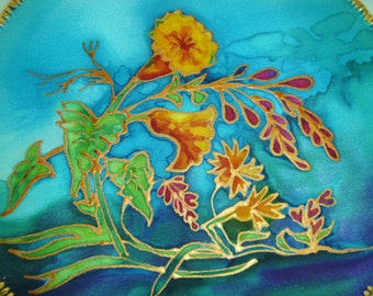 Silk Wall Hanging, Hand Painted Silk Painting, Home Decor