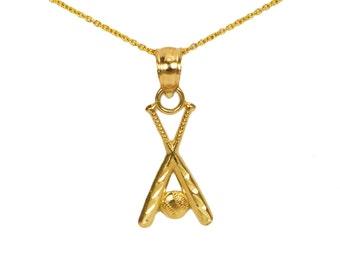 14k Gold Baseball Bat Charm for Charm Bracelet, Small Gold Necklace, Gold Baseball Bat Necklace Charm Necklace, Gold Baseball Bat Pendant