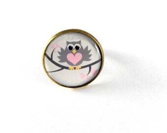 Ring adjustable heart OWL vintage retro