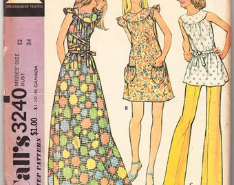 Vintage 1972 McCall's 3240 Sewing Pattern Misses' Dress or Smock and Pants Size 12 Bust 34