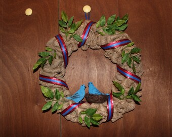 """Bird Burlap Wreath 16"""""""