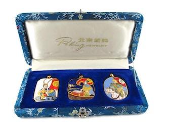 3 Chinese Opera Cloisonne  Pendants/The Peking Jewelry Company /Beijing Arts Set/ Korvettes Oriental Enamel Stock/Silk Road Blue Brocade Box