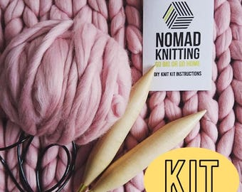 Giant Knitting DIY Blanket, Knit Your Own Super Chunky Blanket, Learn to Knit, DIY Chunky Throw, Extreme Knitting & Pattern, 12+ Colours