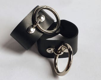 Pluto Cuffs - Wide Leather O Ring Cuffs