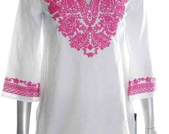 White cotton Scoop Neck Embroidered Party Dress