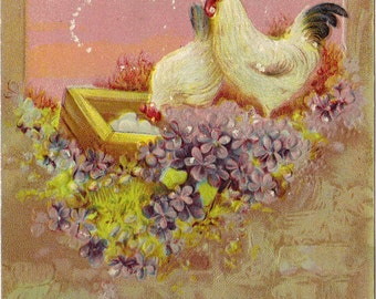 Antique Easter Postcard Chickens Violets 1912