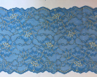 Coupon 70 cm wide lace of calais French high quality blue and yellow width 17 cm 1f