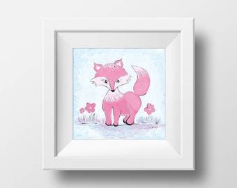 Digital nursery wall art , Fox  , print download