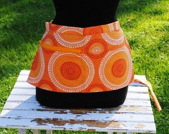 Vendor Apron Server Apron Cash Apron Travel Apron  Zipper Orange Geometric Heavy Weight