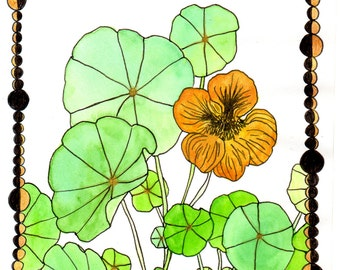 botanical greeting cards- nasturtium and moons drawing printed on linen paper- original art cards