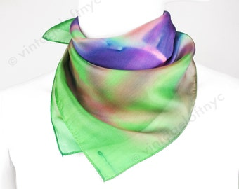 Vintage Silk Scarf 1970s Made in France Deadstock Hand Painted Violet Green Pink
