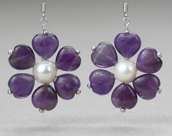 Amethyst pearl flower drop earrings Bridesmaid gifts Free US Shipping one day processing handmade Anni designs