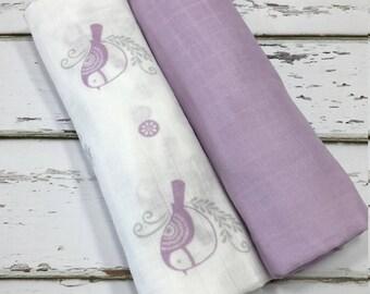 Swaddle Blanket Muslin Swaddle Blanket Gauze Swaddle Blanket Bird Swaddle Blanket Girl Swaddle Blanket Purple Swaddle blanket Girl baby gift