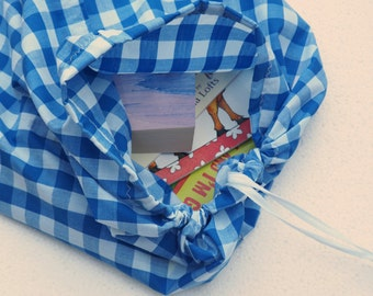Library book bag. Cotton drawstring bag for school library books. Reader bag. Book sack. Music bag.