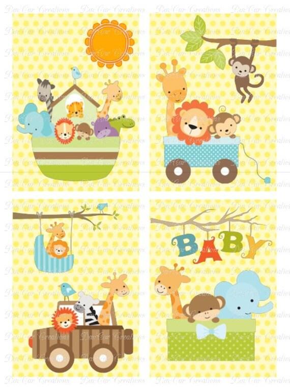 Jungle Baby Animal Nursery Wall Art Set of 4 Prints