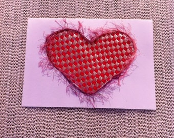 Card woven Heart Valentine Mother Day red and silver for all occasions