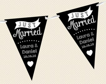 Personalised Chalkboard Bunting - Wedding - Just Married - Design 3 - Made in UK