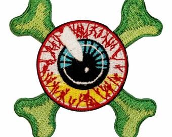 Bloodshot Eyeball Crossbones Bone Kreepsville Embroidered Iron On Applique Patch