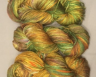 hand dyed sock yarn - Mayan