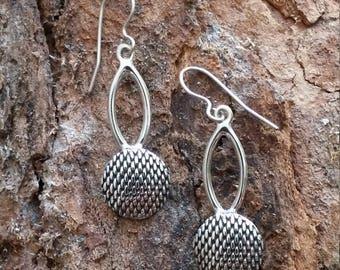 Chain mail silver shield unique earrings, Eye shape oxidized handmade exclusive design earrings, Every day neutral earrings.