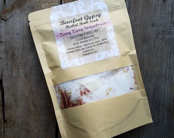 Herbal Bath Soak - Ylang Ylang Grapefruit -Bath Salts - Spa & Relaxation - Natural Bath - Tea Bath