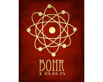 16x20 Science Poster Art Print Atomic Structure Niels Bohr Nucleus Steampunk Rock Star Scientist Geek Chic Decor Nerd Scientific Diagram