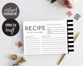 Recipe cards printable, INSTANT DOWNLOAD, Printable Recipe Card, Bridal Shower Recipe Card, DIY Recipe Cards, Rustic Recipe Cards - Isla