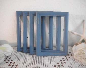 Blue Picture Frame 4 x 6 Rustic Shabby Chic Distressed Wood Photo Decoration Beach Cottage Coastal Seaside Tropical Island Home Decor Gift