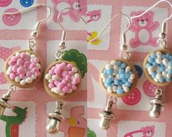 Baby Boy Blue or Girl Pink Shower Pregnancy Gift Earrings