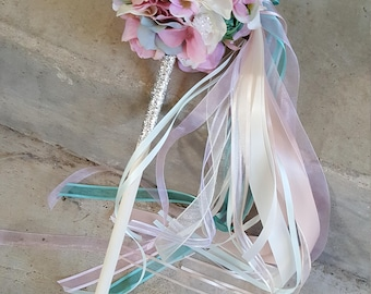 Custom Order for Flower Girl Pom Wand Mint Blush Lilac