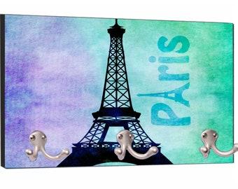 "Parisian Themed Watercolor Eiffel Tower, Paris Print Design - 8"" by 16"" Mountable Coat Hanger Rack"