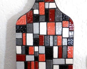 Mosaic trivet, wood backing, black, brick, grey, white