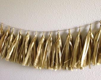 Gold Tassle Garland/ Tassel Garland- 6 feet Tissue Paper garland-