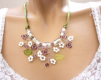 Jewelry Flower necklace green purple and White Rose and lilac
