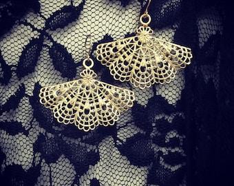 Vintage Style Fan Earrings , Gold plated filigree fan earrings , Handmade jewelry gift idea.