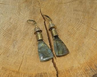 Labradorite and brass earrings