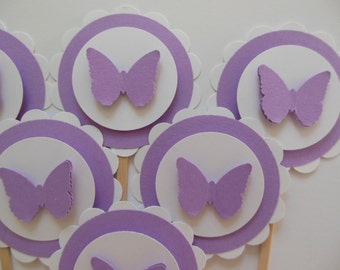 Butterfly Cupcake Toppers - Lavender and White - Girl Birthdays - Birthday Party Decorations - Baby Shower Decorations - Set of 6