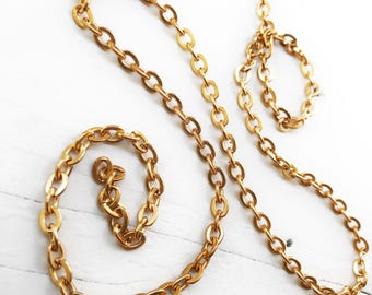 6ft Shiny Gold Bronze 5mm x 6mm Flat Oval Cable Chain Flattened Link Chunky Gold Color Solid Unplated Non-lacquered