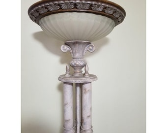 Neoclassical faux alabaster metal torchiere lamp
