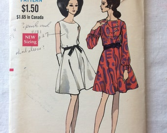 Vintage UNCUT New Vogue 7474 Misses Size 16 One-Piece Dress Pattern - With Sleeves or Sleeveless