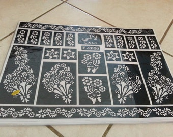 lot of 2 Reusable Mehndi Henna Rubber Self Stick Stencil Template.