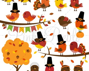 Thanksgiving Birds Clipart Clip Art, Happy Thanksgiving Bird Decor Clipart Clip Art Vectors - Commercial and Personal