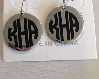 Monogram silver earrings