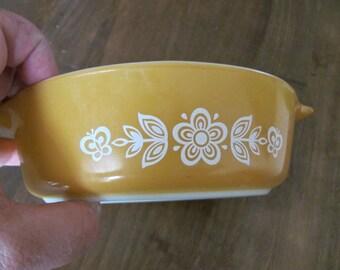 Pyrex Golden Butterfly Pattern Small Casserole Dish No Lid