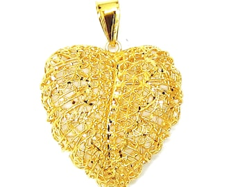Limited Edition - 18K 21K 22K Yellow Gold Heart Shape Pendant Necklace Gift Jewelry for Her
