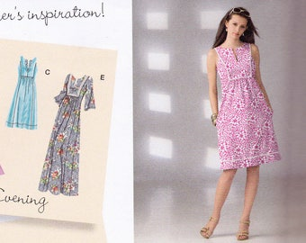 Simplicity 2363  pattern, uncut, misses' bib-yoke day or evening dress with sleeve and length variations in sizes 14-22