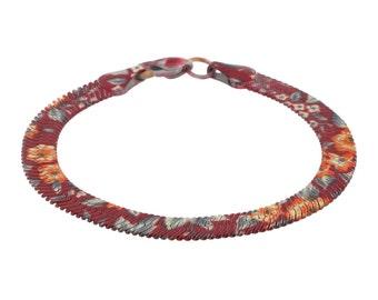Enamel Snake Chain Bracelet Yellow Brown Red Orange 80s Vintage