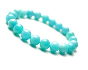 8mm Amazonite Bracelet, Amazonite Jewelry, Sky Blue Jewelry, Mens Beaded Bracelet, Women's Stretch Bracelet, Amazonite Gemstone Bracelet